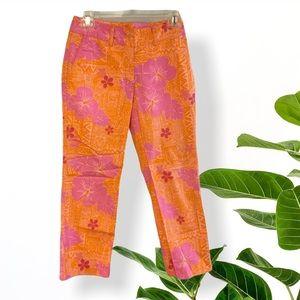 Lilly Pulitzer VTG Sneaky tiki orange pink pants